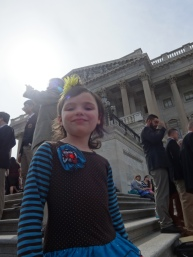 """Getting ready to sing """"God Bless America"""" on the Capitol steps."""