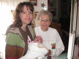 Mommy, AbiNoelle (newborn), & Grandma